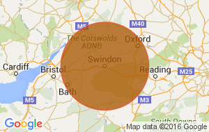 Location map with an orange circle around the Swindon area