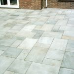Garden Patio with light grey slabs